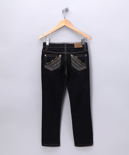 Dark Gold Contrast Straight-Leg Jeans - Girls