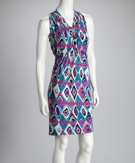 Fuchsia & Blue Zigzag Dress