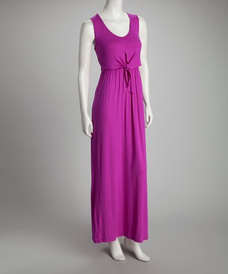 Berry Tie-Front Maxi Dress
