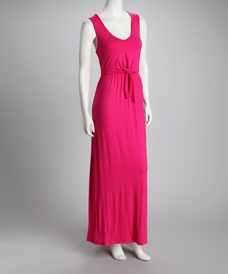 Fuchsia Tie-Front Maxi Dress