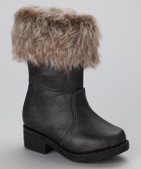 Black Faux Fur Artic Boot