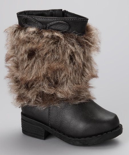 Black Faux Fur Wrapped Artic Boot