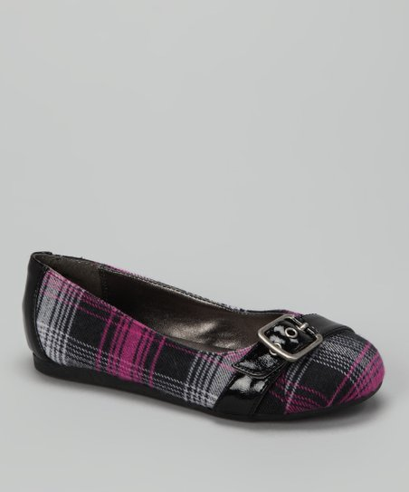 Pink Plaid Buckle Pure Flat -