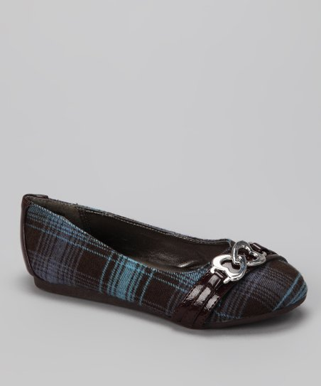 Blue Plaid Heart Pure Flat -