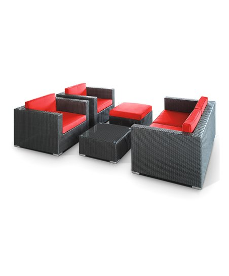 Espresso &amp; Red Malibu Five-Piece Sofa Set