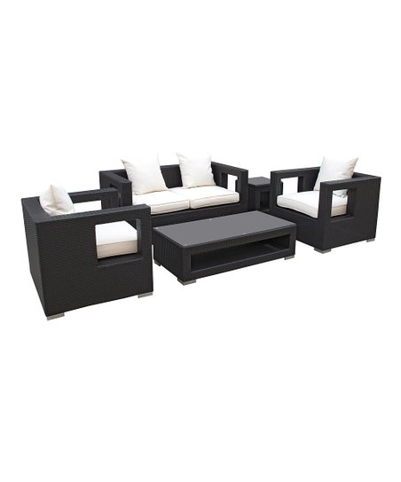 Espresso & White Lunar Five-Piece Loveseat Set
