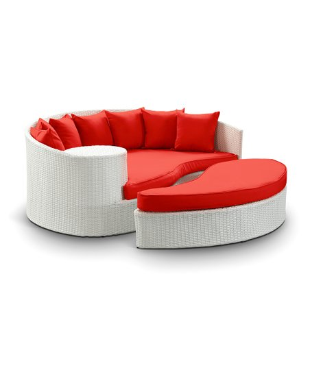 White & Red Taiji Daybed & Ottoman