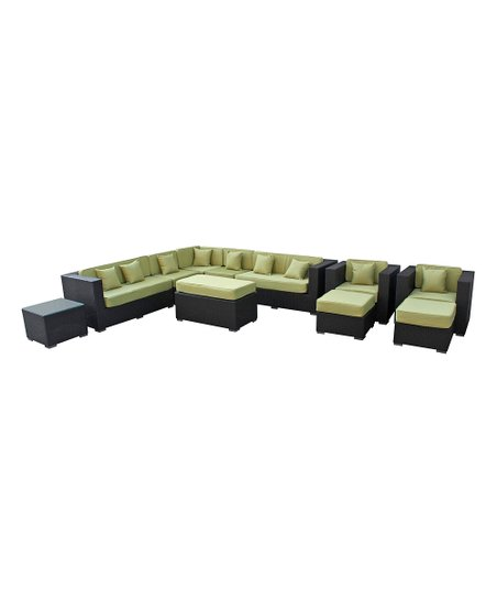Espresso &amp; Peridot Advance 11-Piece Sectional Sofa Set