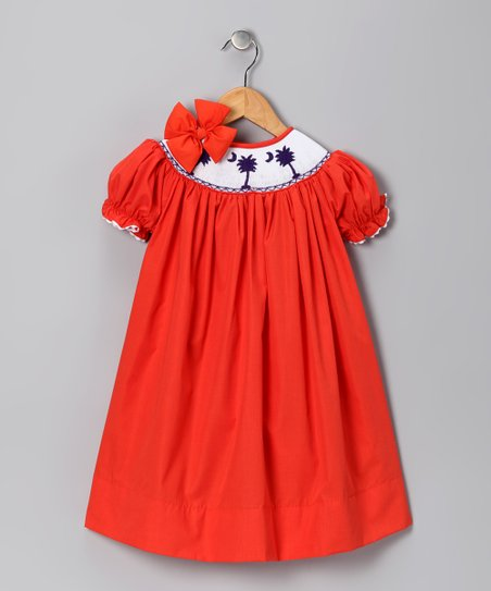Orange Clemson Bishop Dress & Bow - Girls