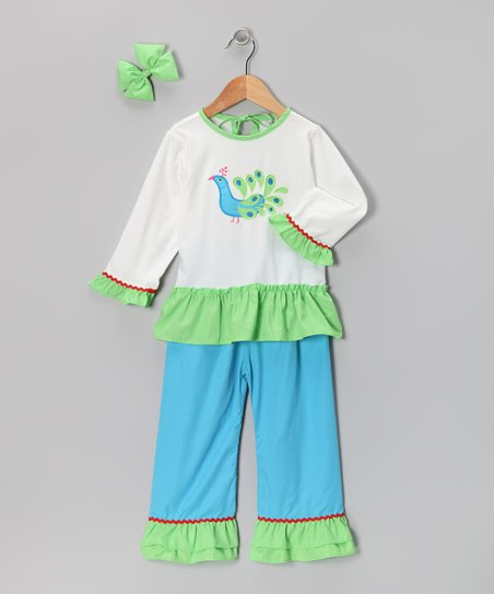 Aqua Peacock Ruffle Pants Set - Infant, Toddler & Girls