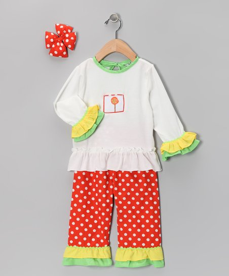 Orange Polka Dot Ruffle Pants Set - Infant, Toddler & Girls