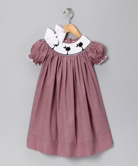 Garnet Gingham Carolina Bishop Dress & Bow - Girls