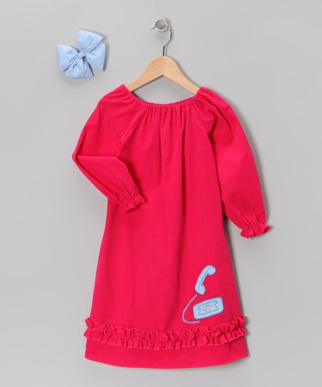 Pink Phone Peasant Dress & Bow - Infant, Toddler & Girls