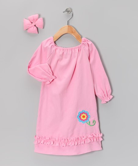 Light Pink Flower Peasant Dress &amp; Bow - Infant, Toddler &amp; Girls