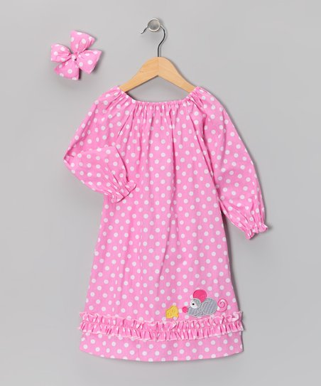 Pink Polka Dot Peasant Dress & Bow Clip - Infant
