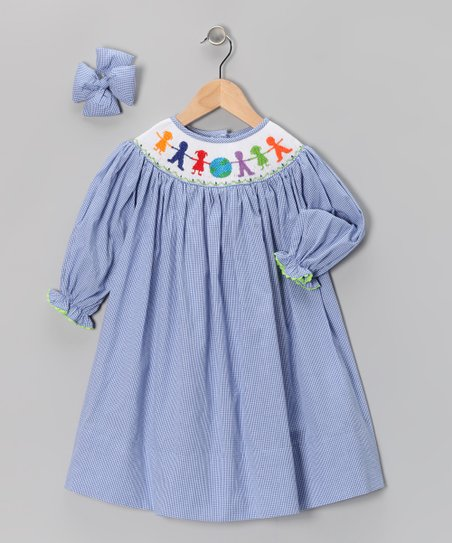 Blue Gingham Bishop Dress & Bow - Infant, Toddler & Girls