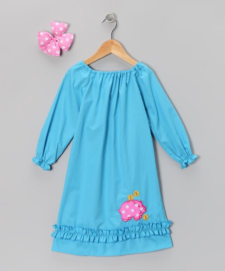 Aqua Pig Peasant Dress &amp; Bow - Infant, Toddler &amp; Girls