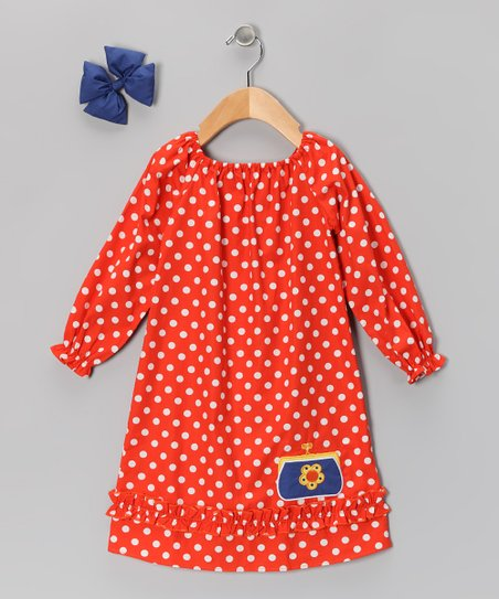 Orange Polka Dot Peasant Dress &amp; Bow - Infant, Toddler &amp; Girls
