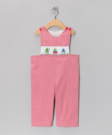 Red Gingham Robot Overalls - Infant & Toddler
