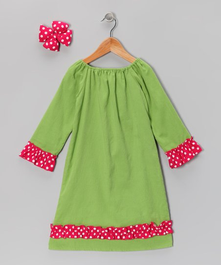 Green Corduroy Peasant Dress & Bow - Infant, Toddler & Girls