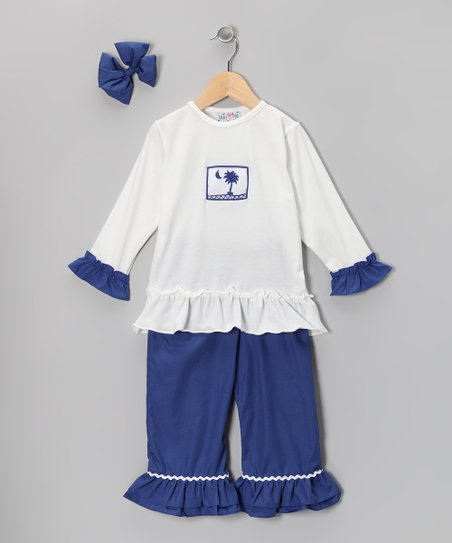 Navy South Carolina Ruffle Pants Set - Infant, Toddler & Girls