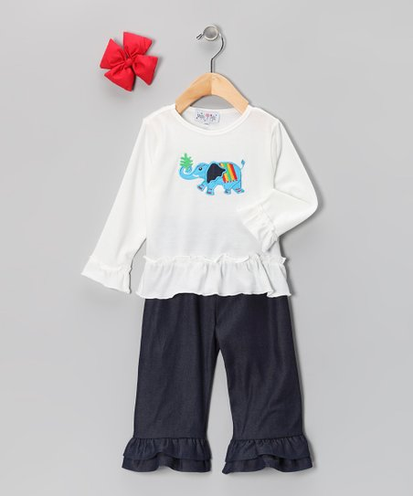 White & Denim Elephant Ruffle Pants Set - Infant & Girls
