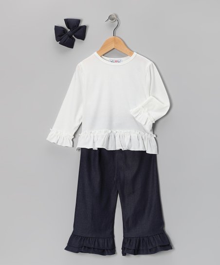 White & Denim Ruffle Pants Set - Infant, Toddler & Girls