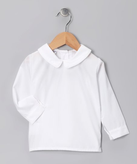 White Long-Sleeve Peter Pan Collar Top - Infant, Toddler & Boys