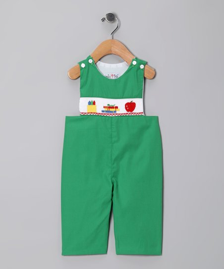 Green Back to School Overalls - Infant &amp; Toddler