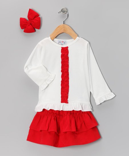 Red Corduroy Ruffle Skirt Set - Infant & Toddler