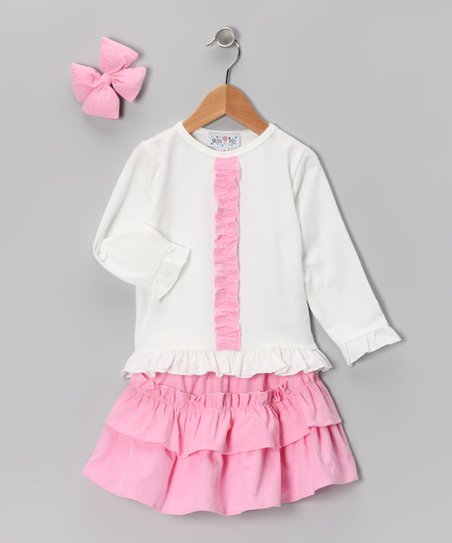 Pink Corduroy Ruffle Skirt Set - Infant, Toddler & Girls