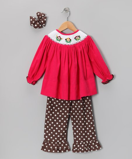 Brown Monkey Polka Dot Ruffle Pants Set - Infant, Toddler & Girls
