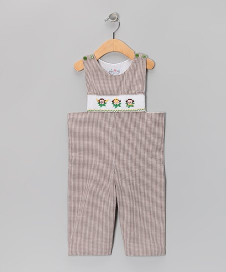 Brown Gingham Monkey Overalls - Infant & Toddler