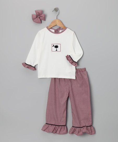 Carolina Plaid Ruffle Pants Set - Infant, Toddler &amp; Girls