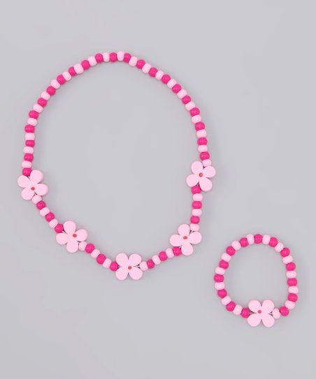 Pink Flower Necklace & Bracelet