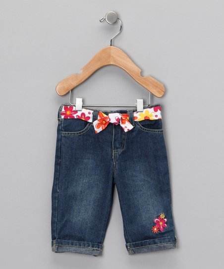 Meadium Wash Pink Flower Cropped Jeans - Infant