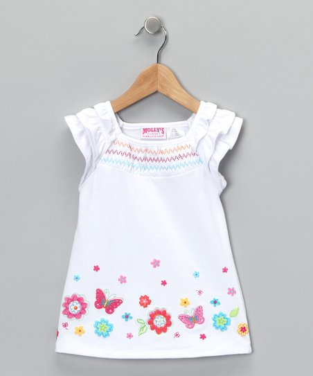 White Butterfly Top - Infant & Girls