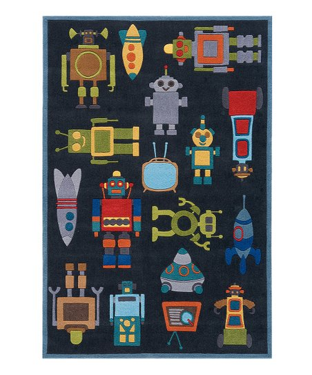 Steel Blue Robot Rug