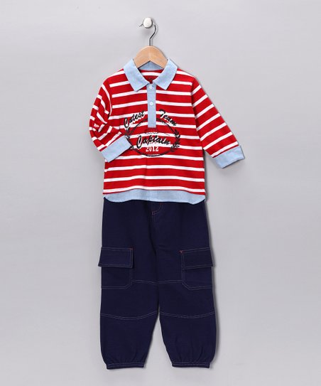 Red Stripe Polo & Cargo Pants