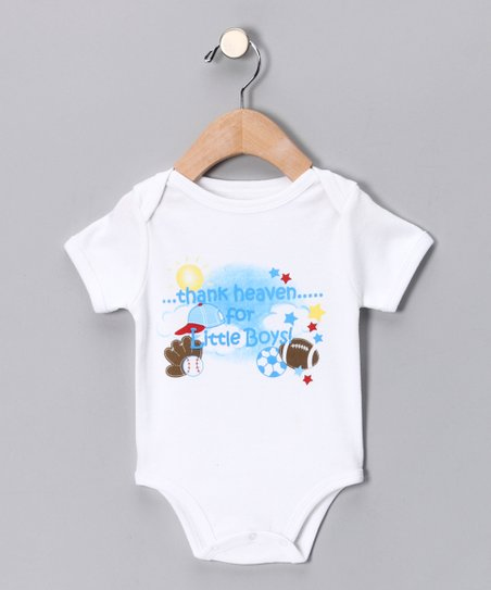 White &#039;Thank Heaven for Little Boys&#039; Bodysuit