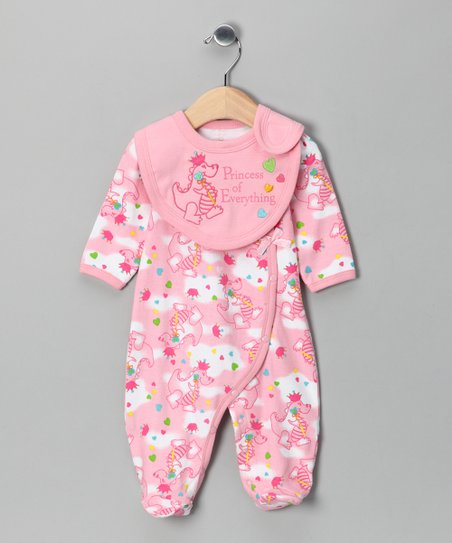 Pink &#039;Princess of Everything&#039; Footie &amp; Bib