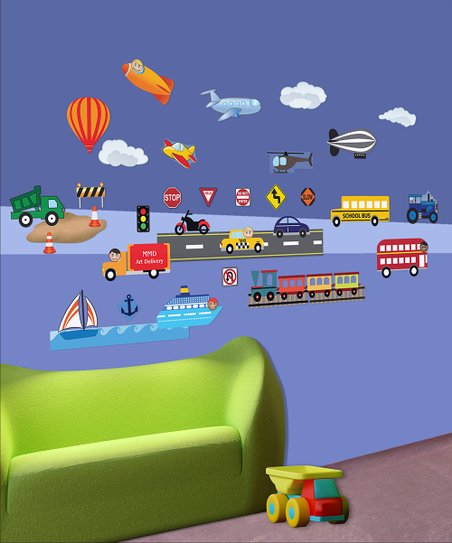 Transportation Interactive Wall Decal Set