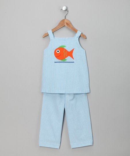 Turquoise Fish Applique Top & Pants - Infant, Toddler & Girls