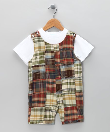 White Tee & Fall Patchwork Shortalls - Infant & Toddler