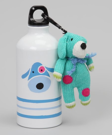 White & Blue Dog Water Bottle & Plush Clip
