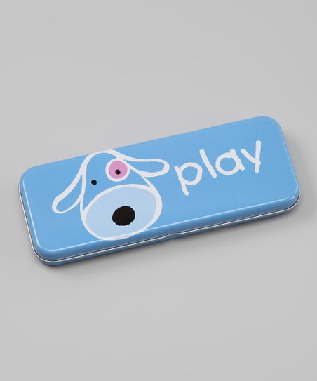 Blue 'Play' Dog Pencil Box