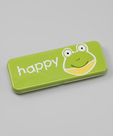 Green 'Happy' Frog Pencil Box
