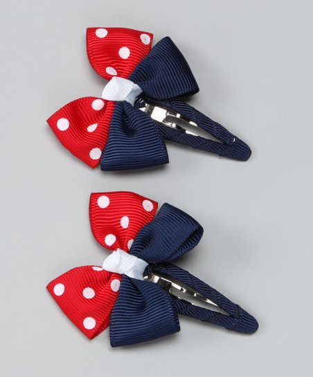 Red & Navy Polka Dot Clips