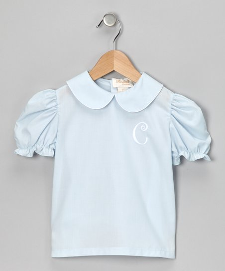 Rosalina Blue & White Initial Blouse - Infant, Toddler & Girls