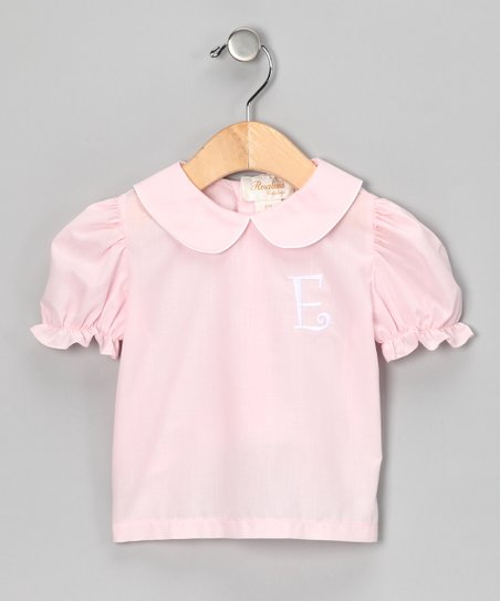 Rosalina Pink & White Initial Blouse - Infant, Toddler & Girls